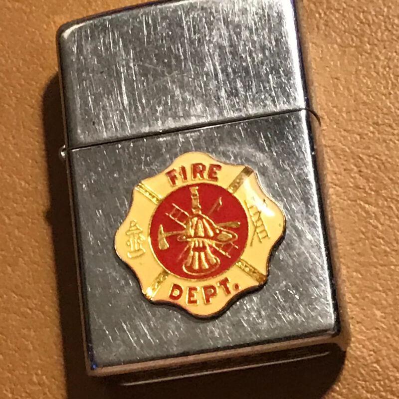 Vintage 1995 Zippo Lighter FIRE DEPT Insignia On Chrome Fire Department Shield