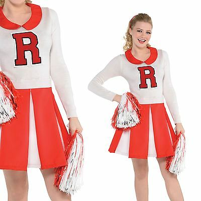 Ladies 50s USA College High School Cheerleader Grease Costume Adult Fancy Dress (50's Cheerleader Kostüm)