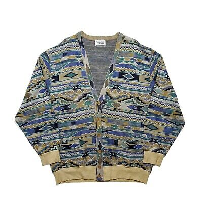 Vintage Missoni Sport 1990s Earthy Patterned Cardigan IT54 XL Italy Coogi Style