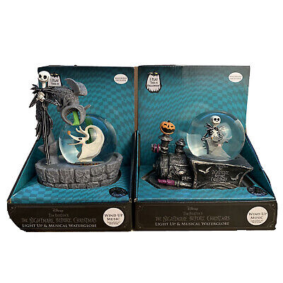 Disney The Nightmare Before Christmas Musical Water Globe Lot Of 2