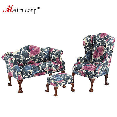 Used, Dollhouse 1:12 scale Miniature furniture Petal pattern Living room chair&sofa for sale  China