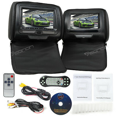 "Black 2 x 7"" Digital LCD TFT Car Headrest DVD Player Pillow Kids Game Sony Lens"