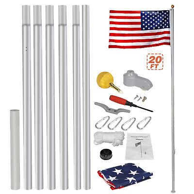 Heavy Duty Aluminum 20' Sectional Flag Pole Kit w/ 3' x 5' US Flag Gold Ball Kit