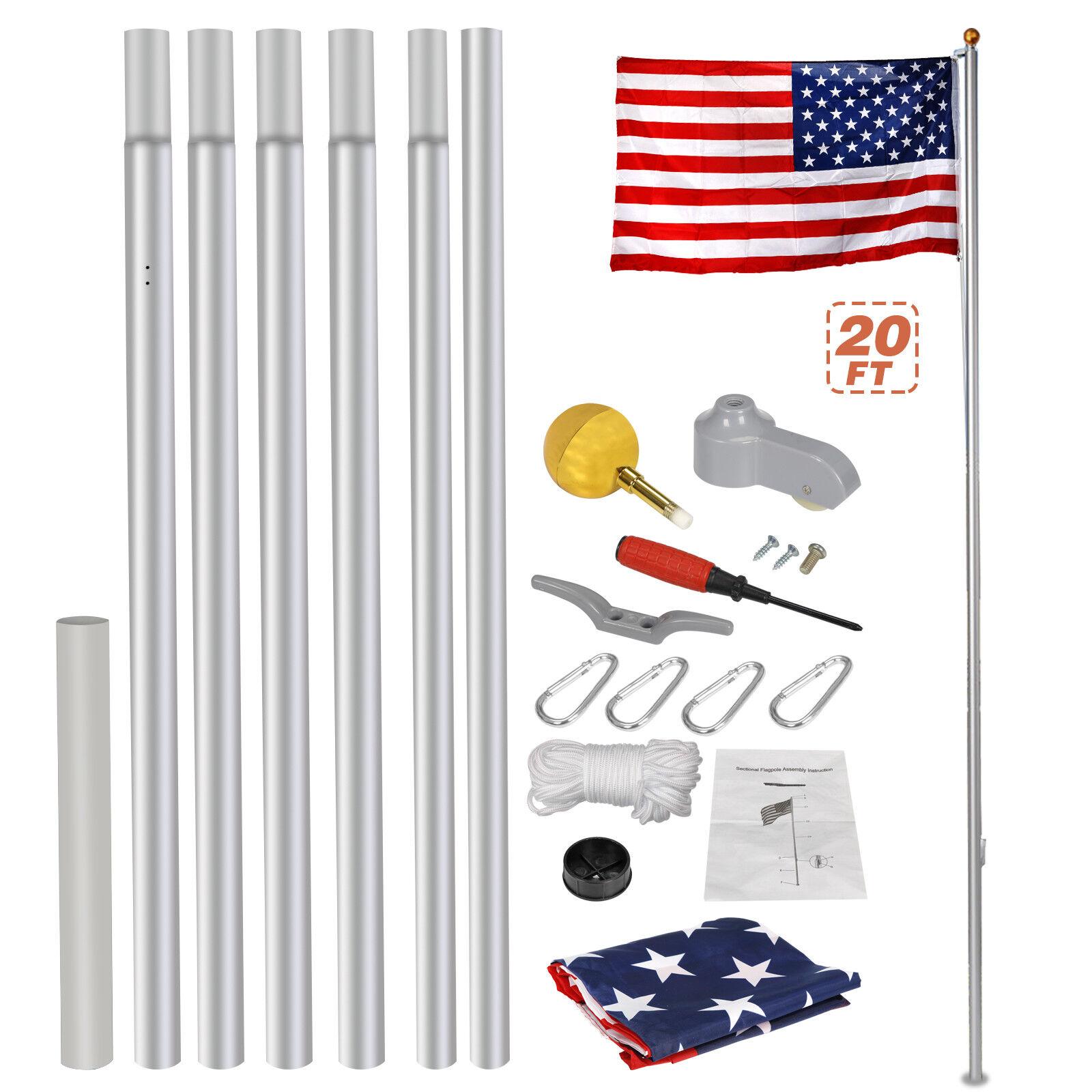 Heavy Duty Aluminum 20′ Sectional Flag Pole Kit w/ 3′ x 5′ US Flag Gold Ball Kit Décor