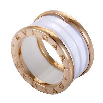 Bvlgari B.Zero1 18K Rose Gold White Ceramic 3-Band Ring