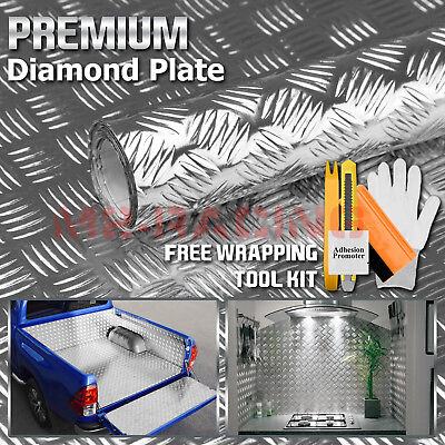 24x48 Silver Chrome Diamond Plate Vinyl Decal Sign Sheet Film Self Adhesive