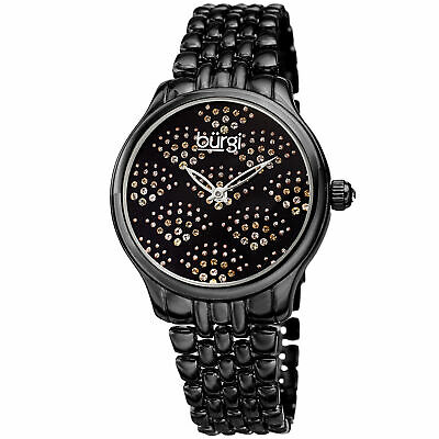 Women's Burgi BUR205BK Swarovski Crystal Black Stainless Steel Bracelet Watch