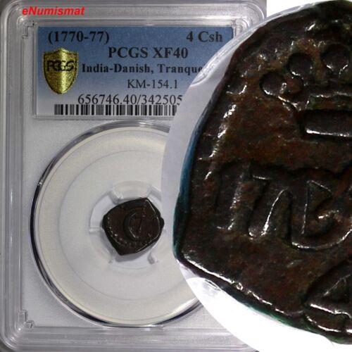 India-Danish, Tranquebar Copper (1770-77) 4 Cash PCGS XF40 TOP GRADED KM# 154.1