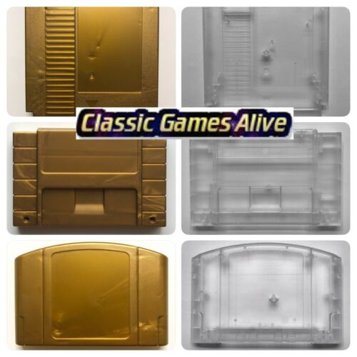Zelda Gold Cart Gray Shell Clear Case for N64, SNES and NES replacement