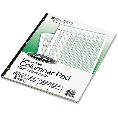 Wilson Jones Columnar Pad 5 Columns 50 Sheets 11x8-12 Green G7205