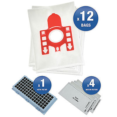 12 Vacuum Cleaner Bags For Miele Compact C1 & C2 Series Complete with Filter Kit (Bag Filter Kit)