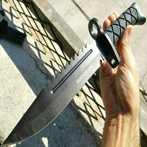 """13.5"""" Military Black Tactical Survival FIXED BLADE HUNTING B"""