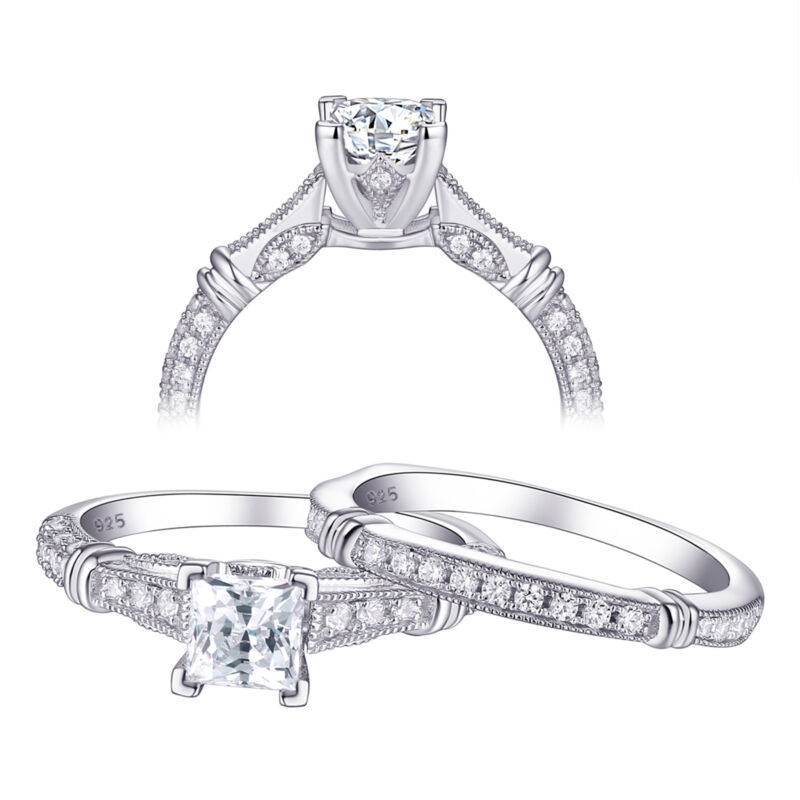 Wedding Engagement Ring Set Vintage Princess Aaa Cz 925 Sterling Silver Sz 5-12