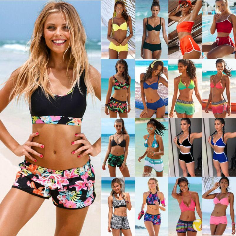 Damen Badeanzug Tankini Bikini Top Boxershorts Hose Sommer Strand Sport Bademode