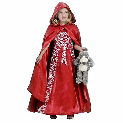 Kids Girls Little Red Riding Hood Fairy Tale Halloween Costume Hooded Dress Cape