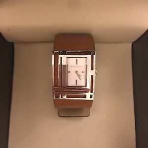 Burberry Leather Watch Tan Silver Ladies Adjustable