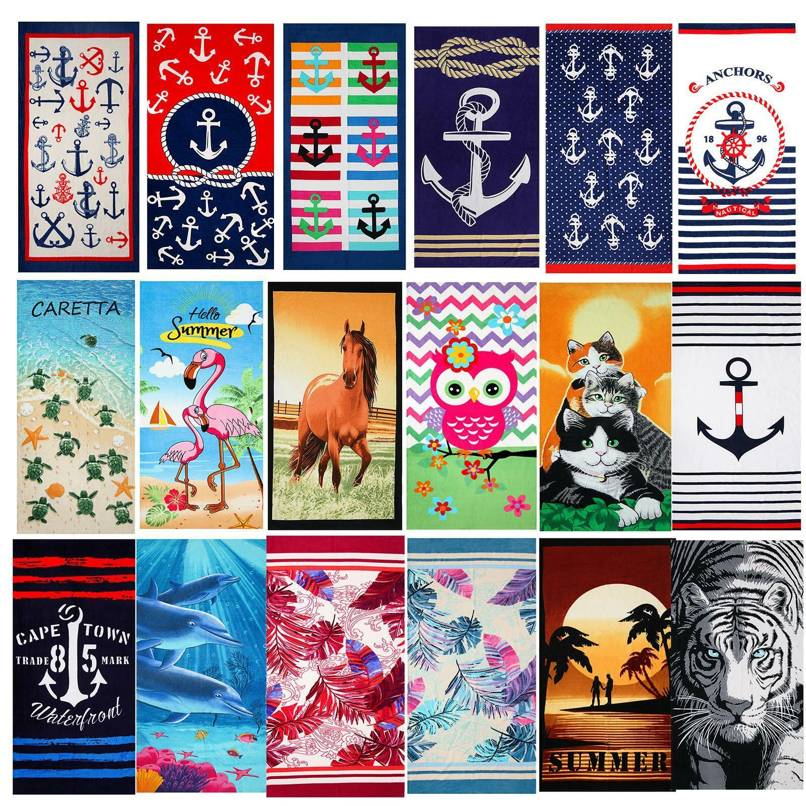 Hencely 100% Cotton Large Beach Towel, Soft Quick Dry 30 x 6