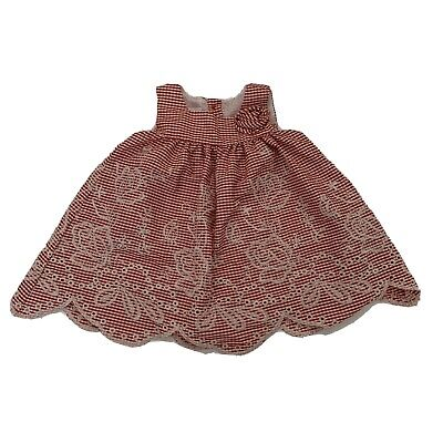 Bonnie Baby Girl size 6-9 months Dress Red Gingham Flower Embroidered