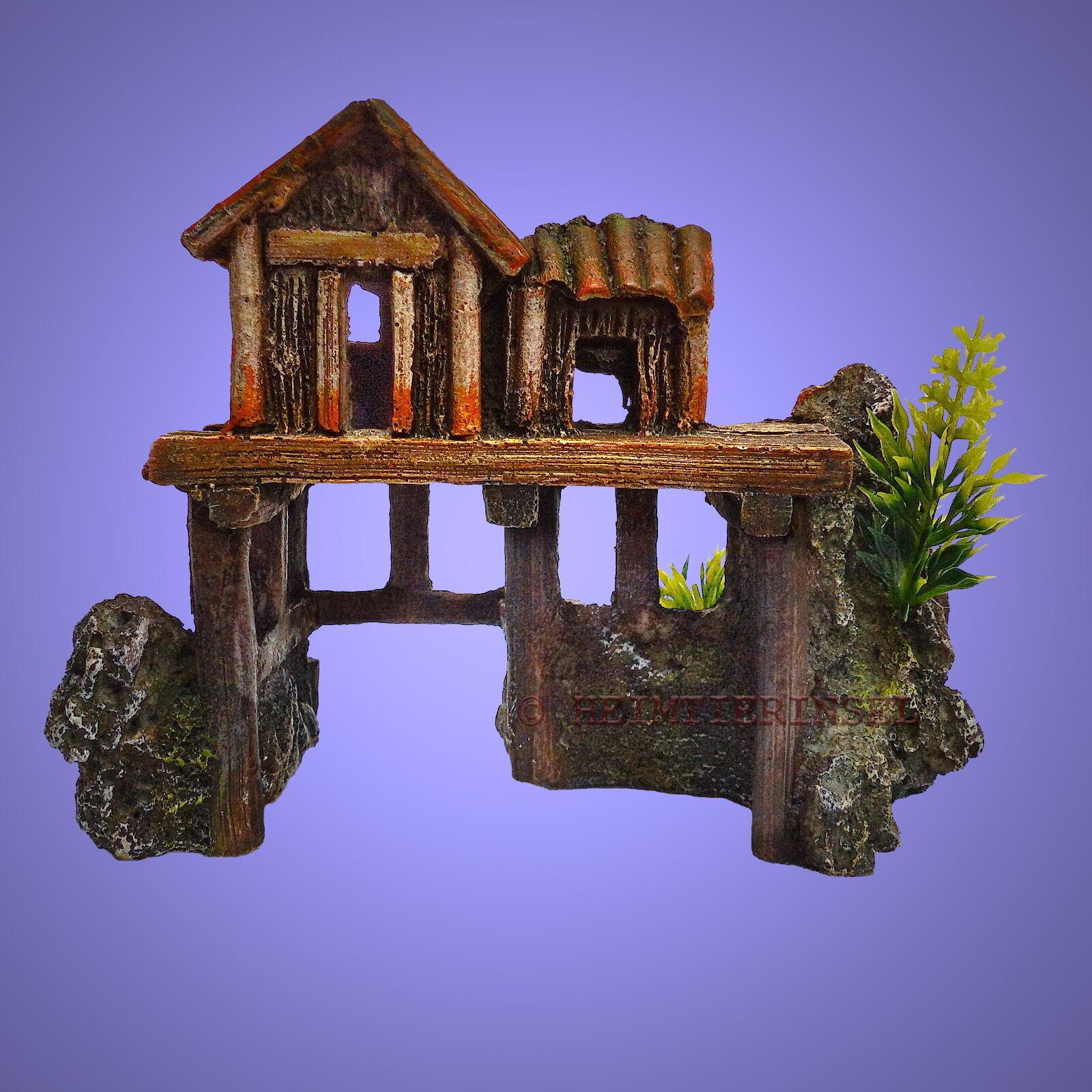 aquarium deko kleines pfahl haus h hle fische terrarium dekoration zubeh r eur 9 99. Black Bedroom Furniture Sets. Home Design Ideas
