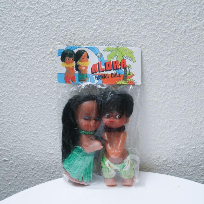 Vintage Aloha hula boy & girl rubber doll dolls kitsch set NOS