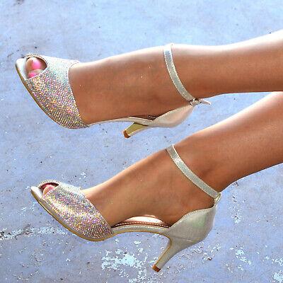 Ladies Diamante Mid Heel Ballroom Shoes Ankle strap Peep toe Holiday Prom Bridal Ankle Strap Peep Toe Heels