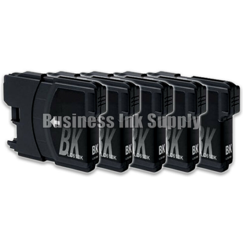 5 High Capacity Black ink for Brother LC 61 LC61BK LC61 LC-61 Ink Cartridge 29ml