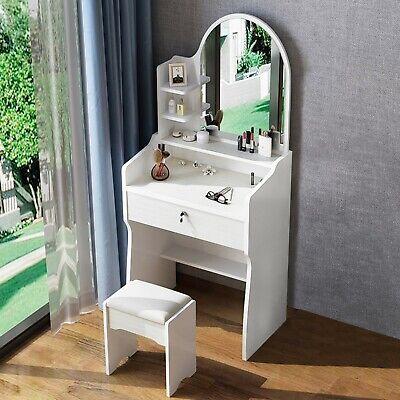 Modern Dressing Table Stool w/ Mirror & Drawer Bedroom Vanity Set Makeup Desk