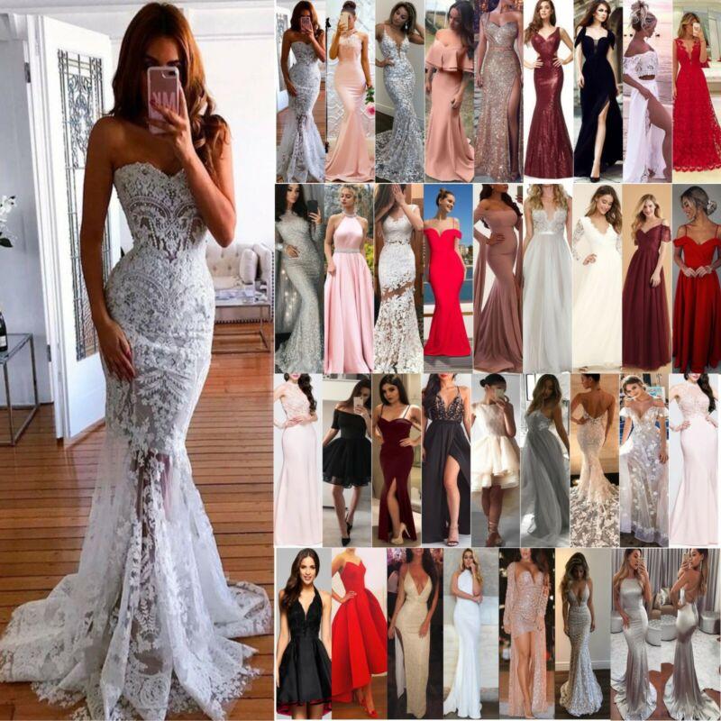 DE Damen Lang Cocktail Abendkleider Hochzeitskleid Brautjungfern Party Ballkleid