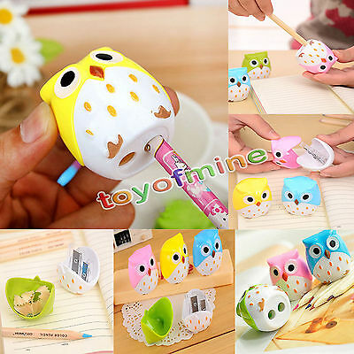 Cute Owl Pattern 2 Holes Pencil Sharpener Cutter Kids Student School Office