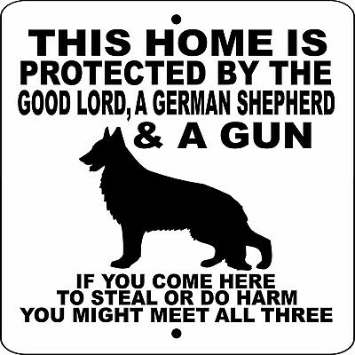 "GERMAN SHEPHERD DOG SIGN,9"" x 9"" ALUMINUM,NO TRESPASSING,Gate,Fence,GLGSGUN9x9W"