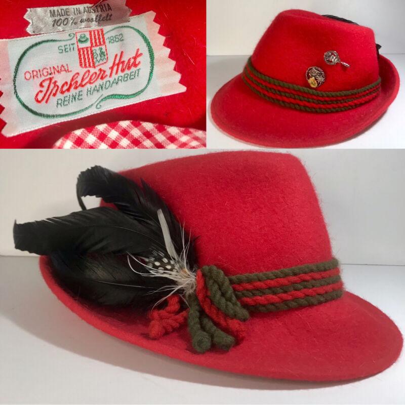 Vintage Original Ischler Hut Red Fedora Austria Feathers Pins Hat  Octoberfest