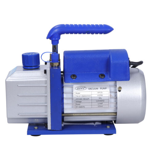 4CFM Rotary Vane Vacuum Pump Single Stage HVAC 1/3HP Air Conditioning A/C Deep Business & Industrial