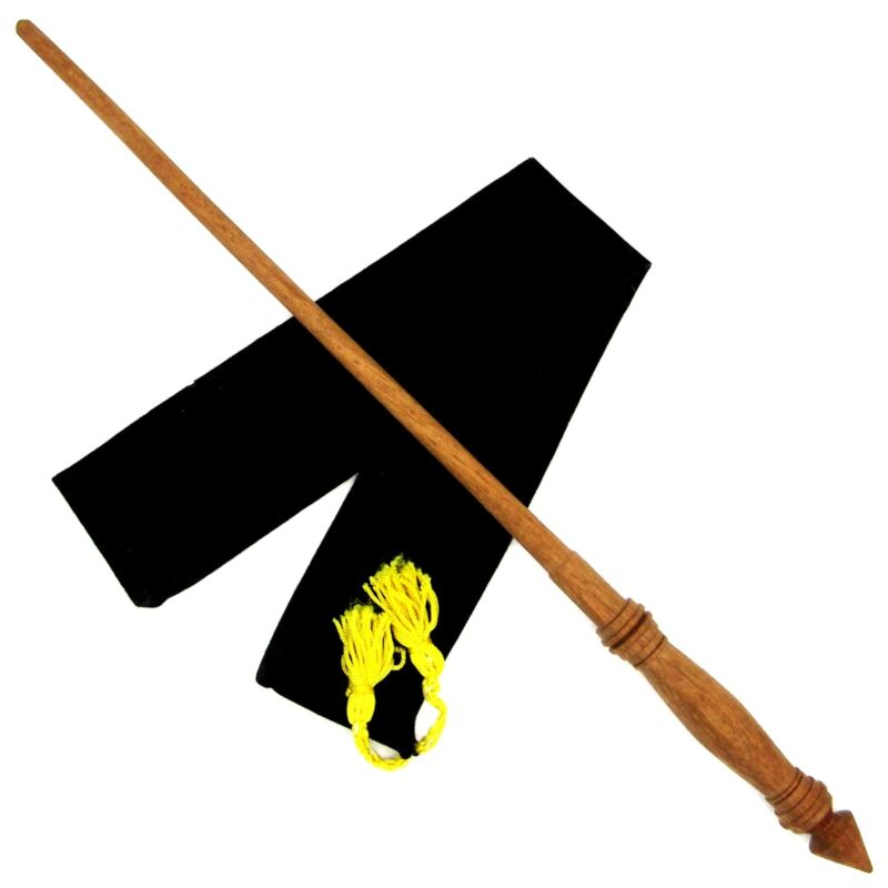"""16"""" Hand Turned Mahogany Wood Magic Wand Witch Wizard Wicca w/ Free Velvet Bag"""