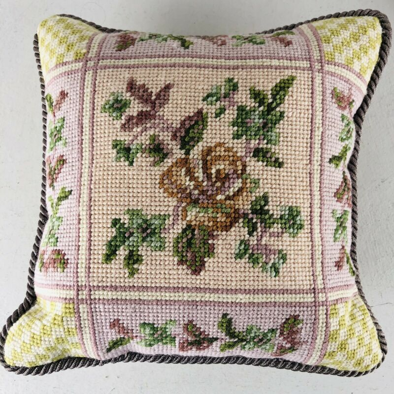 Vintage Embroidery Needlepoint Accent  Floral Parlor Pillow Cushion Pink Green