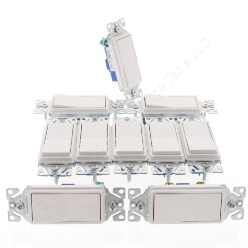 10 Eaton/Cooper White Decorator Rocker Light Switches 15A Single Pole 120V