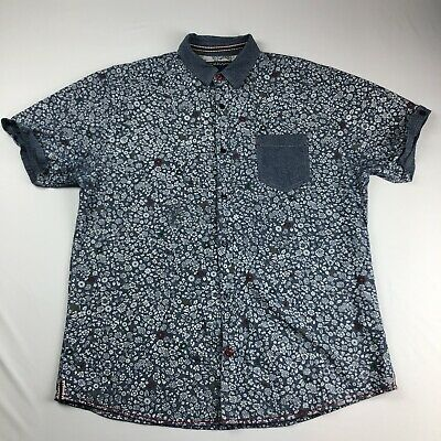 Tranquility Mayhem Best In Show Mens Floral Shirt Button Up Short Sleeve Size