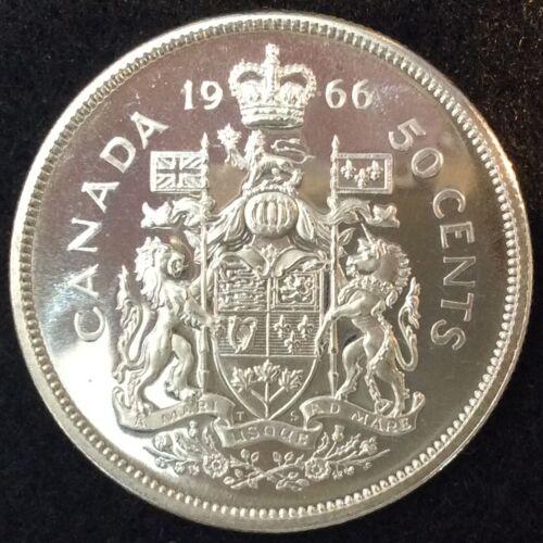 1966 Canada Silver Half Dollar Gorgeous Prooflike Gem BU