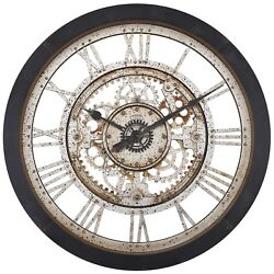 Industrial Large Antique Gear Wall Clock Vintage Black Quartz Stylish Roman NEW