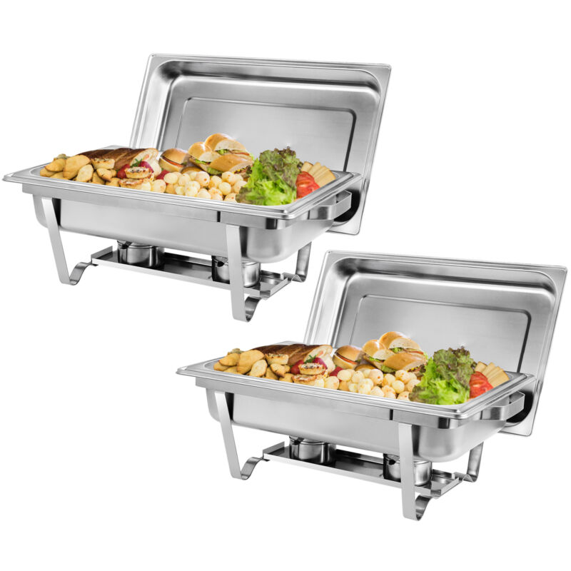 2 Pack Catering Stainless Steel Chafer Chafing Dish Sets Full Size Buffet 9L 8QT