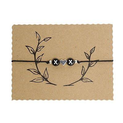 2 Buchstaben Schwarz mit Herz Armband Freundschaftsarmband Wunschbuchstaben 25cm (Herz Mit Band)