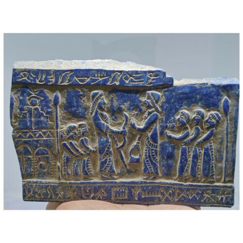 Lapis lazuli antique beautiful carving stone rare Relief tile    #119