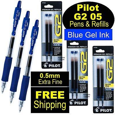 Pilot G2 05 Blue 0.5mm Extra Fine Point Blue Gel Ink Rollerball Pens Refills