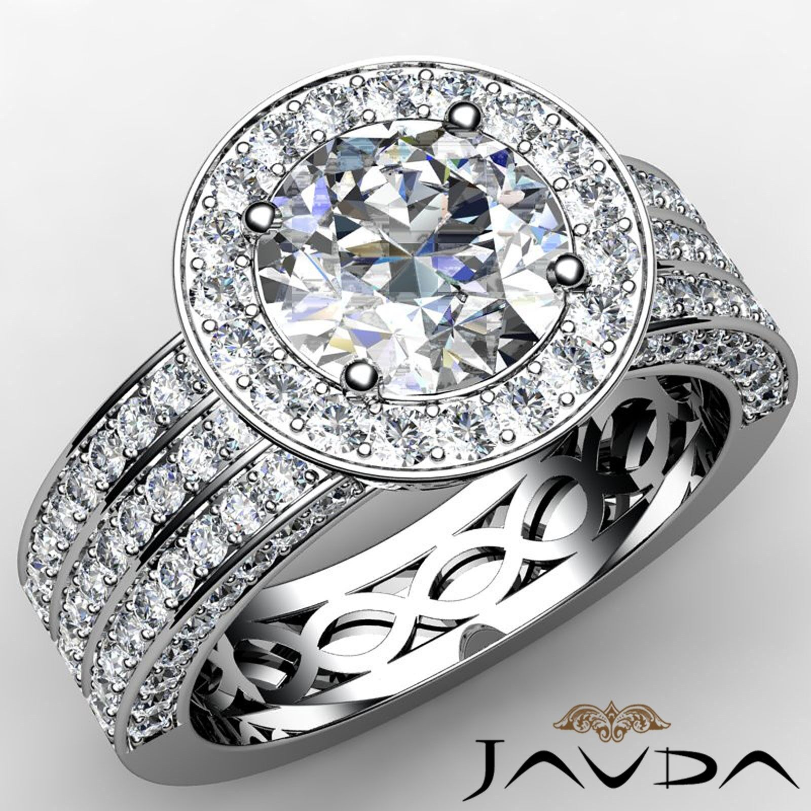 3 Row Round Diamond Halo Pave Engagement Ring GIA F VS2 18k White Gold 2.85ct