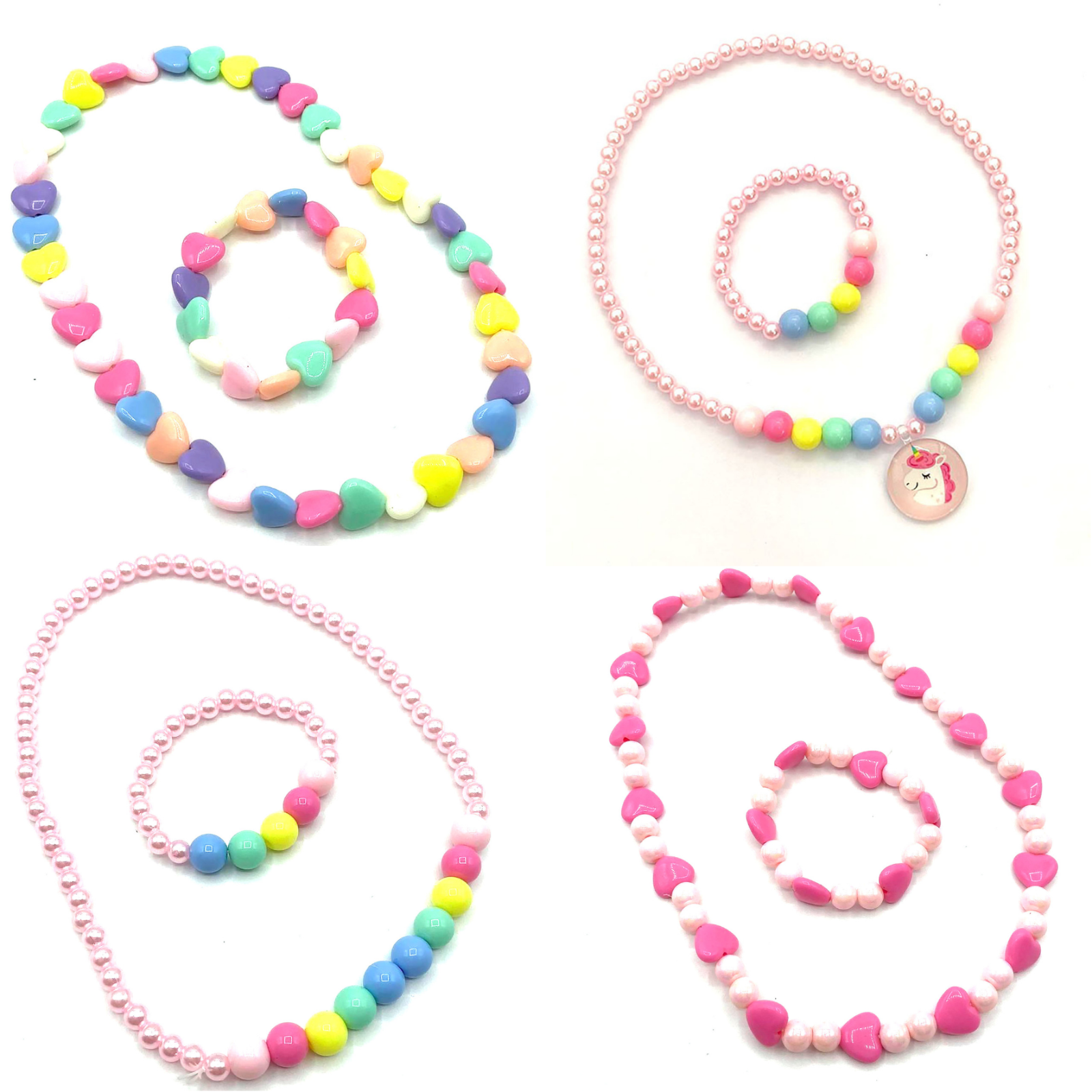 Jewellery - Girls Plastic Necklace and Bracelet Set Kids Jewellery Party Bag Fillers