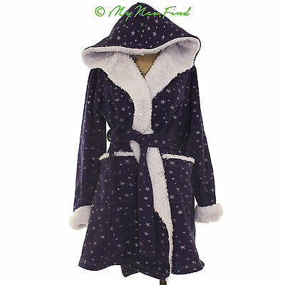 (Make + Model Short Sweet Robe Blue Star Print Hooded White Fur Interior M B35)