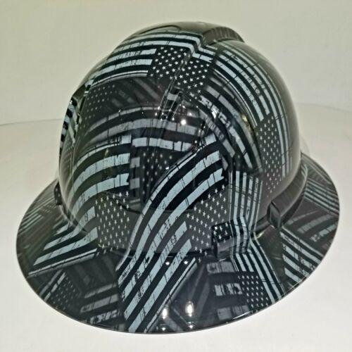 NEW FULL BRIM Hard Hat custom hydro dipped AMERICAN FLAG BLACK OPS RECON EDITION 2