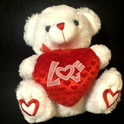 "Valentine Teddy Bear White Plush Heart Pillow Says ""LOVE""  Hearts On Paws"