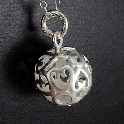Sterling Silber Filigran 3D Liebe Herz Kugel Anhänger Halskette Anhänger 12mm