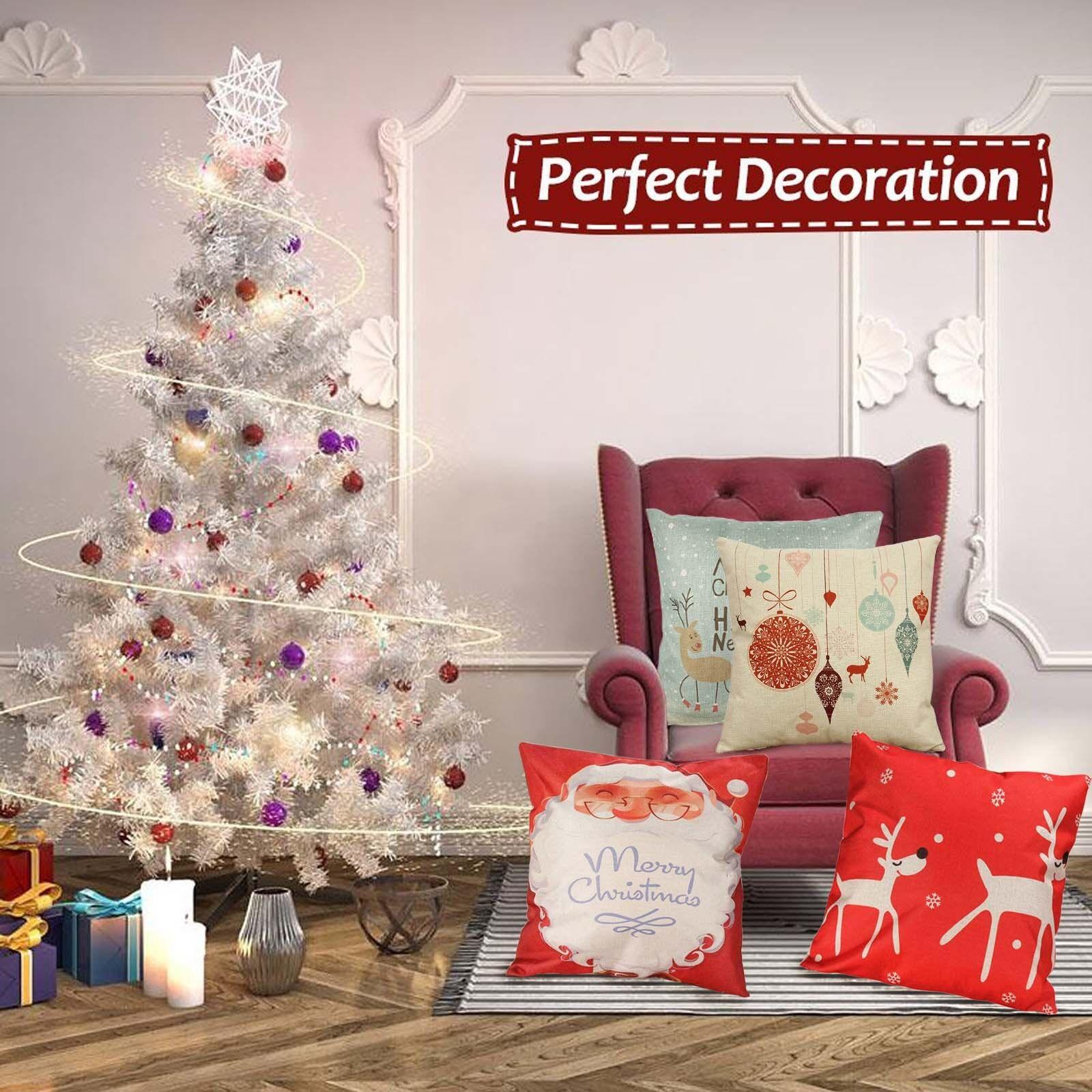 Christmas Linen Cushion Cover Throw Pillow Case Home Decor F