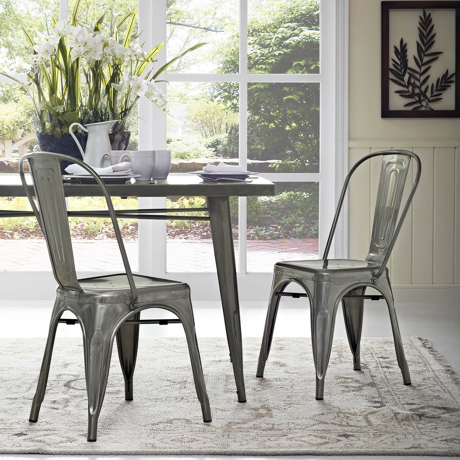 Details About Industrial Modern Tolix Style Gunmetal Aluminum Bistro Dining  Chairs   Set Of 2